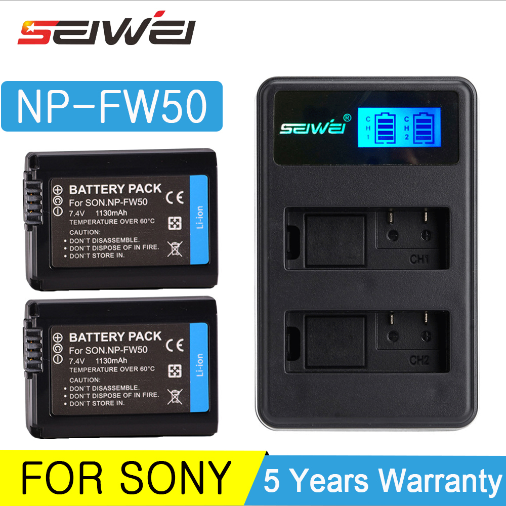 For <font><b>Sony</b></font> NP-FW50 LCD USB Charger + 1130mAh NP FW50 Camera Battery for <font><b>Alpha</b></font> a6500 a6300 a6000 <font><b>a5000</b></font> a3000 NEX-3 a7R DSC-RX10 Set image