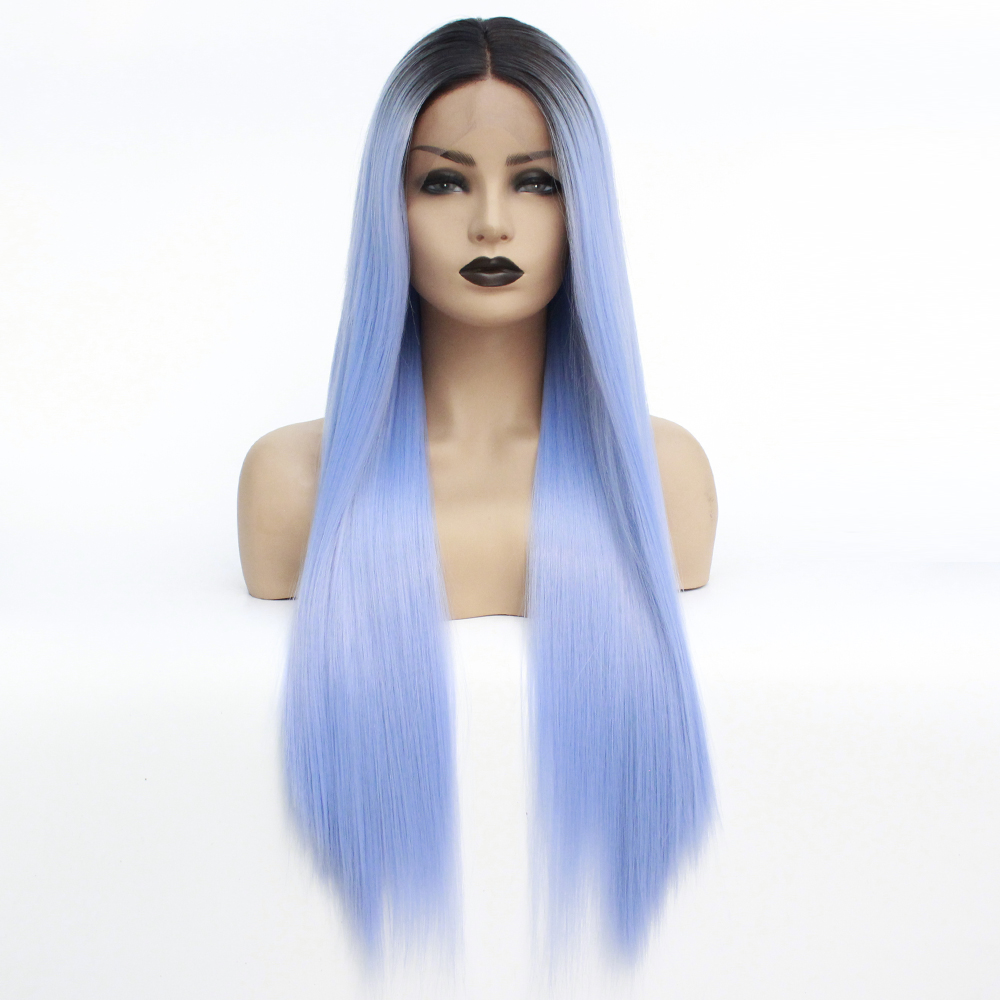 V NICE Blue Ombre Wig for Women Synthetic Lace Front Wig with Dark Roots Long Straight