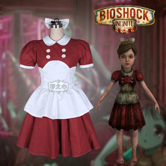 Us 93 88 Anime Bioshock Infinite Little Sister Red Polka Dot Maid Dress Lovely Uniform Cosplay Costume Halloween Suit Free Shipping In Anime