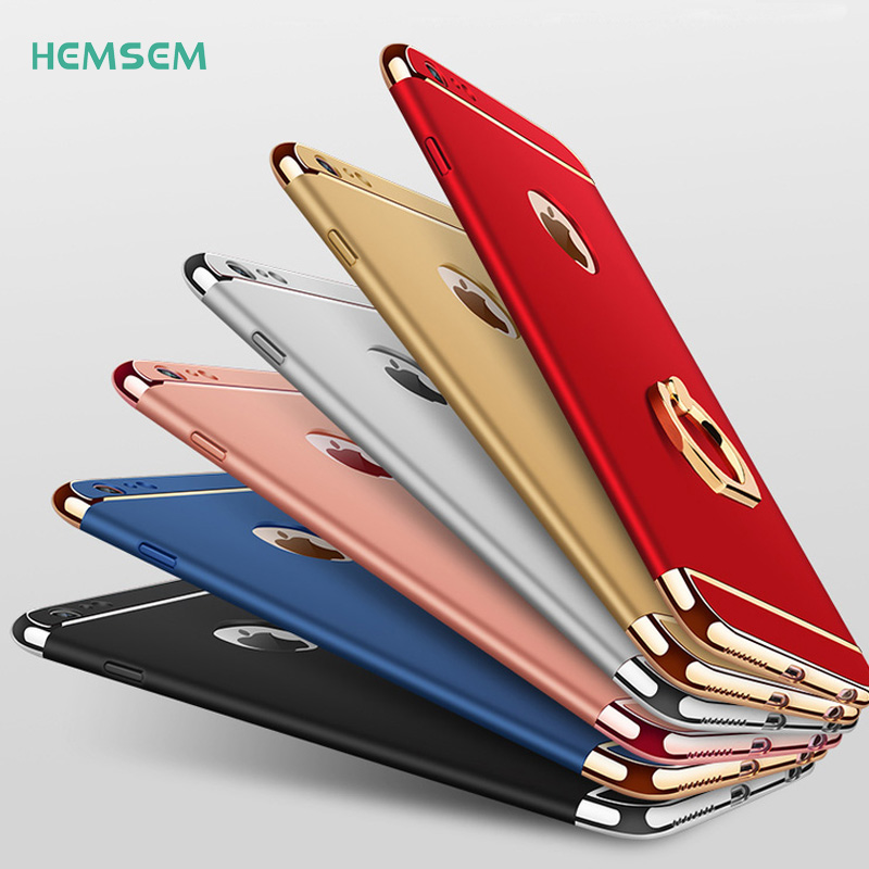 HEMSEM luxury thin shockproof cases for iPhone 7 8 plus 7plus cover 3D plating+silk back cover+ring holder on phone case design
