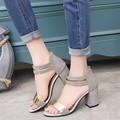 2017 summer word buckle Korean fashion new fish mouth with thick with sandals female midfielder shoes
