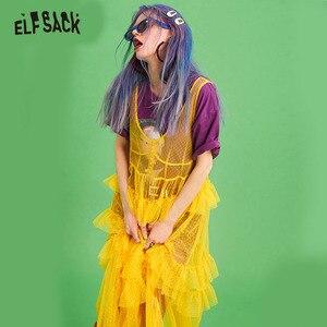 Image 2 - ELFSACK Mesh Vintage V ausschnitt Taste Frauen Kleid Casual Rüschen Trim Strand Kleider Weibliche Lange Kleid Solide Süße Spitze Kleidung