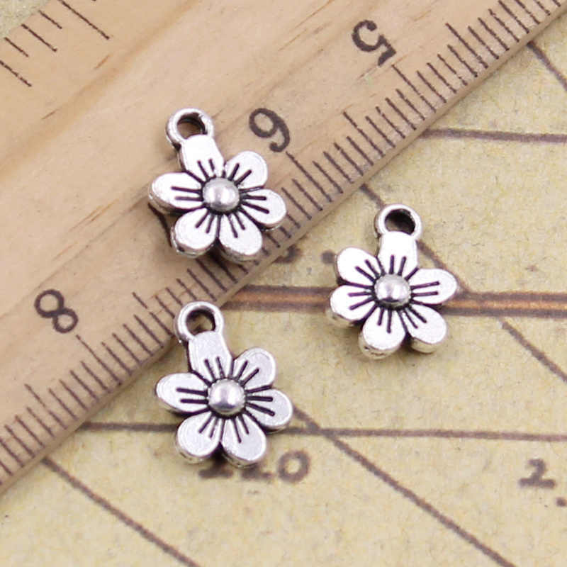 20pcs/lot Charms lovely flower 12x9mm Antique Silver Pendants Making DIY Handmade Tibetan Silver Finding Jewelry for Bracelet