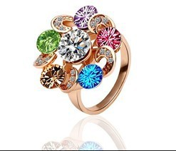 Christmas Gift 18KGP New Arrival Ring With Colorful Crystal For Women Free shipping