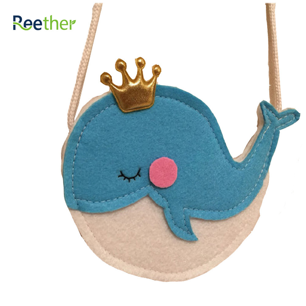Reether Girls Small Package Cute Blue Whale Coin Purse Kids Shoulder Pouch Bag Children Snack Bag Decoration Gifts