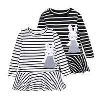 2019 fille 2-6y mignon automne vêtements pour enfants à manches longues bande de coton avec col rond lapin broderie robes de conception