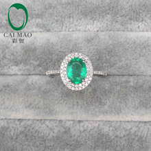 14kt White Gold 1.27ct Oval Emerald Pave SI Diamond Engagement Ring Fine Jewelry