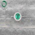 14kt oro blanco 1.27ct Oval Emerald pavimenta SI diamante anillo de compromiso joyería fina
