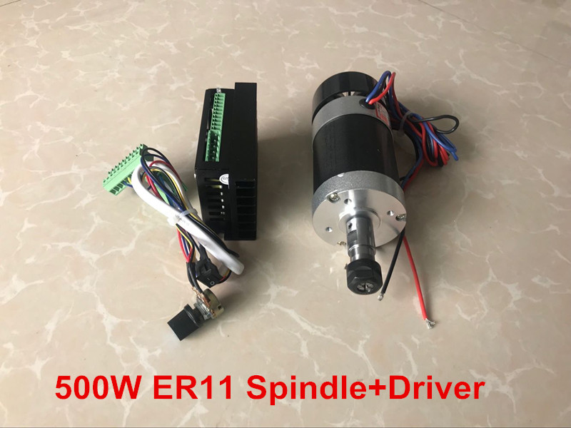500W CNC Router Spindle Motor Brushless ER11/ER16 DC Spindle + Motor Driver Controller For Milling Machine