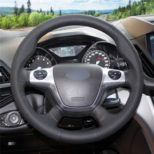 High quality Black Artificial Leather anti-slip customized car steering wheel cover For Ford Focus 3 2012-2014 KUGA Escape