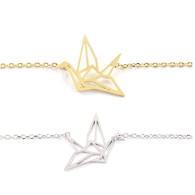 Gold/Silver Plated Origami Crane Pendant Necklace