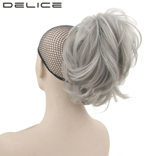 [DELICE] 14inch 2 Styles Gray Natural Wave Claw Short Ponytail Clip In Heat Resistance Synthetic Hair Extensions For Women