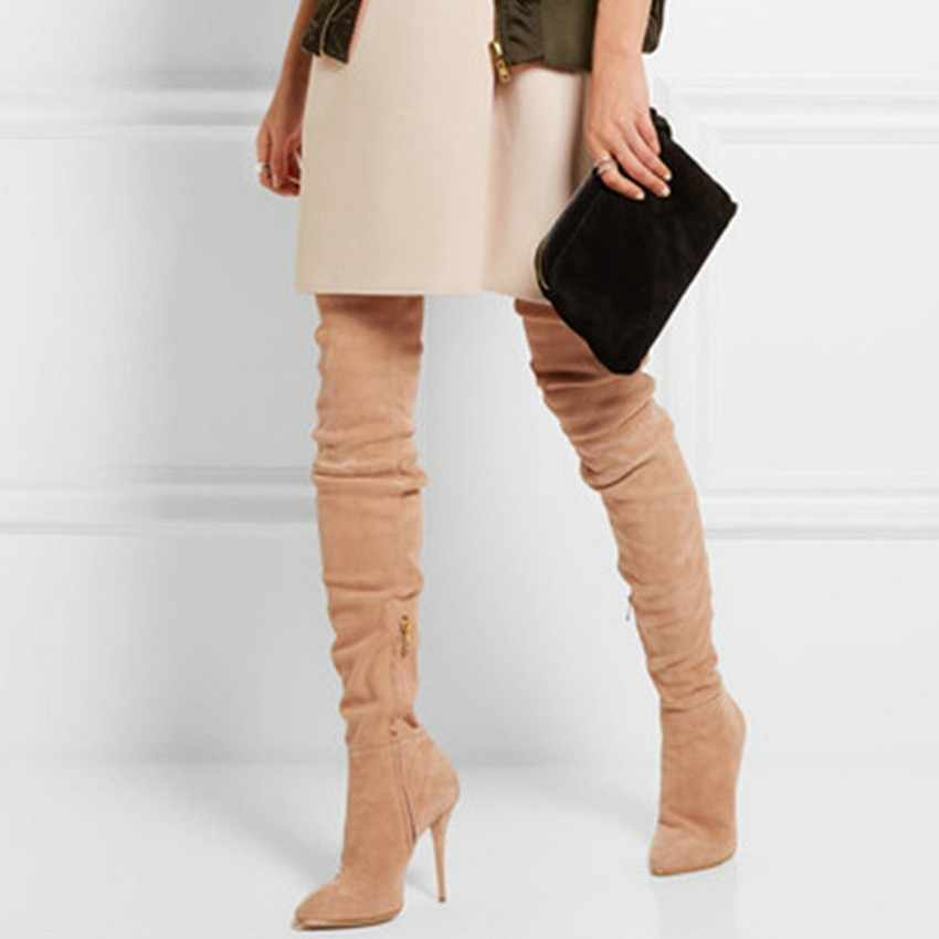 2019 Thương Hiệu Căng Da Lộn Da Đùi Giày Cao Gót giày Nữ Mùa Đông Giày Đế Gót Gợi Cảm Trên Đầu Gối Giày Nữ giày