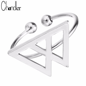 Wholesale Silver Gold Double Triangle Charm Rings Open Geometrical Fashion Jewelry  Knuckle Midi Mid Finger Bagues For Women