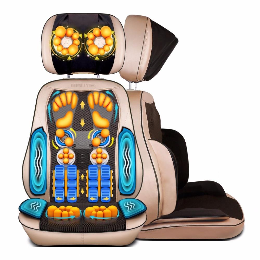 De Corpo inteiro Cadeira de Massagem Shiatsu Elétrica Escritório Almofada de Massagem Cervical No Pescoço de Volta Perna Sofá Aquecimento Dispositivo Massageador Corporal Casa