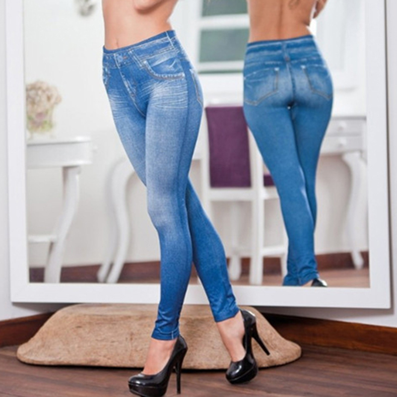 Leggings   fake denim Pants with Pockets Sexy Lift Hip Skinny Jeans Women fake jean 5xl Plus Size Elastic Slim Feet Pants