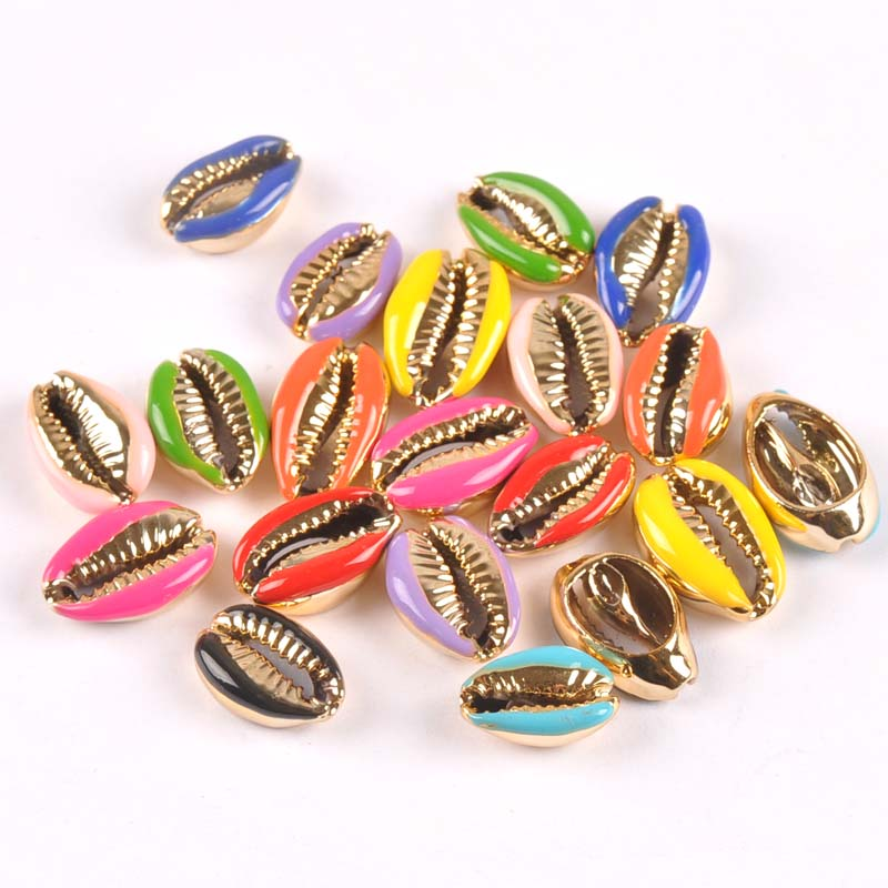 Natural Cut Cowrie Shells Golden Plated Seashell Conch Beads Tribal Jewelery Handmade Craft Accessories DIY Trs0307