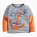 Sping marca de cheio âncora t-shirt camiseta de manga longa menino moda impresso roupas de algodão miúdo roupas cool t-shirts para o menino o pescoço