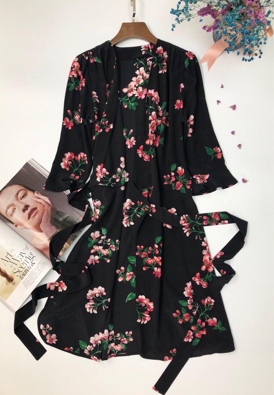 Suave Vestido Mujeres Verano Pieza Una De Primavera Té Negro Las Seda Lavado Y Begonia 2019 vaAwrvqx
