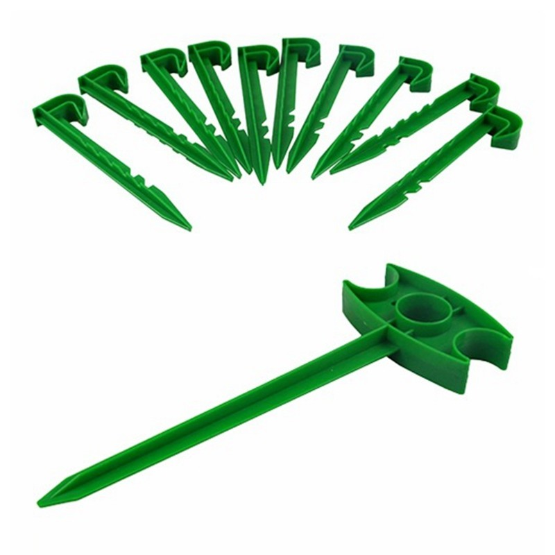 100PC Plastic Garden Stakes Pegs Ground Nail For Mulch Film Ground Netting Cover