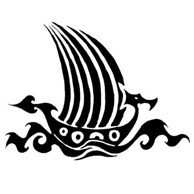 15 5 cm 11 7 cm menarik viking kapal perahu naga vinyl mobil sticker motor decals hitam