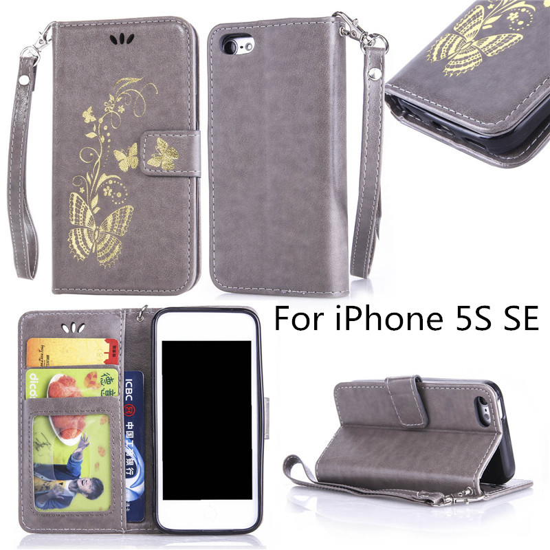 Gold stamp Golden butterfly fundas Flip Cover For iPhone 5S SE Case Luxury PU Leather Photo Frame Wallet Stand Mobile Phone Case