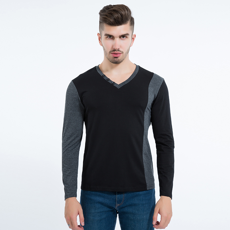 Liseaven 2017 Men s V Neck Long Sleeve T Shirt Korean Fashion Cotton Slim Fitted T