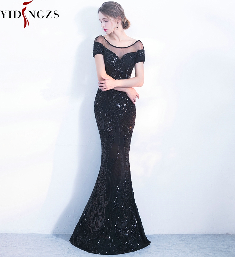 YIDINGZS Evening-Dresses Sequins Elegant Black Long Simple Backless YD100