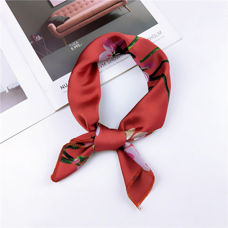 High Quality Satin Scarf Women Leopard Print Elegant Small Square Scarf Head Scarf Handkerchief Spring Autumn Fashion Scarves in Women 39 s Scarves from Apparel Accessories