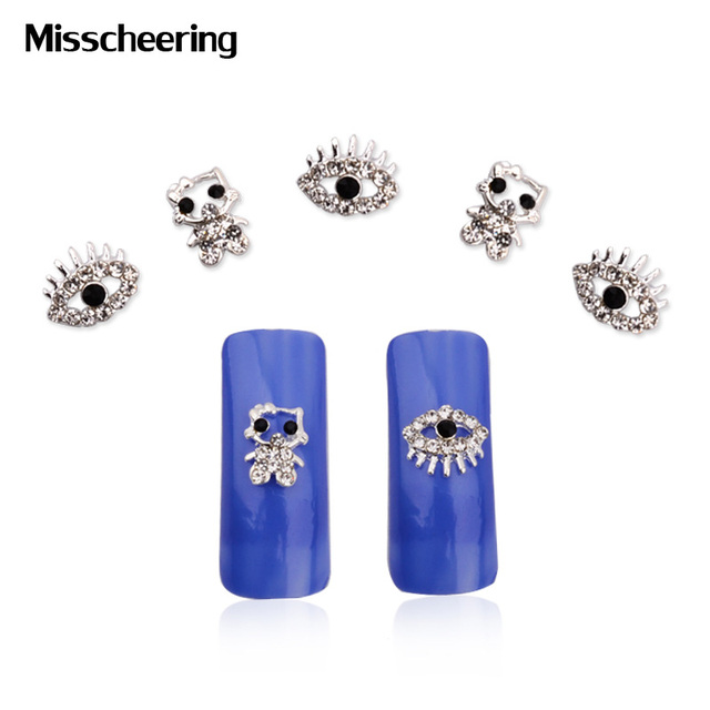 10pcs Cute Hello Kitty Eyes 3d Alloy Nail Rhinestone Decoration Diy