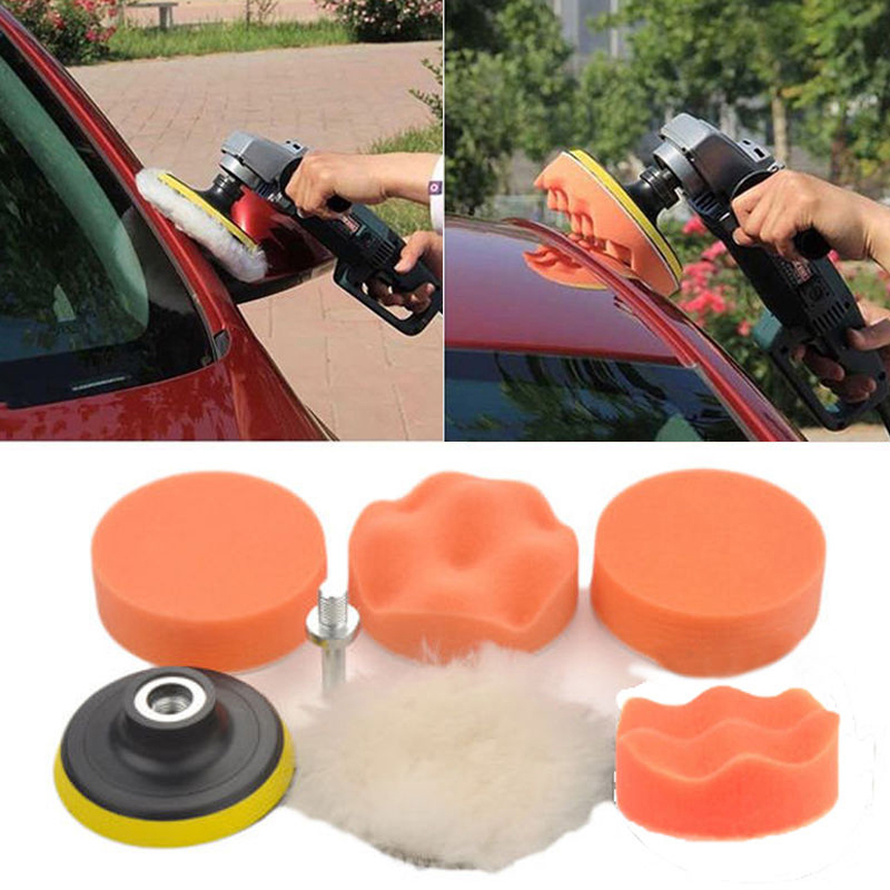 "7pcs 3"" Waxing Sponge Buffer Polish Pads M14 Drill Adapter"