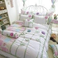 Трехмерные цветы постельные принадлежности набор Фея Девушки кровать набор корейский Rulled кружевное покрывало для кровати Twin queen