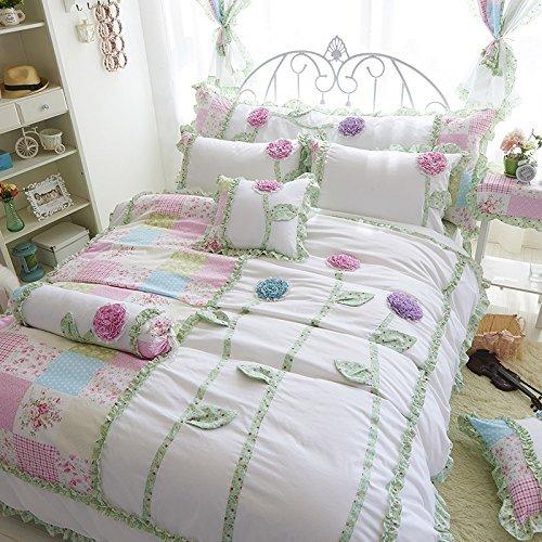 תלת ממדי פרחי מצעים סט פיות בנות מיטת סט קוריאני Rulled תחרה מיטת כיסוי מלכת תאום