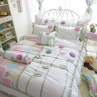 Three Dimensional Flowers Bedding Set Fairy Girls Bed Set Korean Rulled Lace Bed Cover Twin Queen
