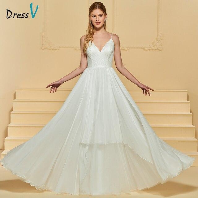 dbfae4a9db Dressv v neck elegant beach a line wedding dress floor length spaghetti  straps bridal outdoor church tulle wedding dresses