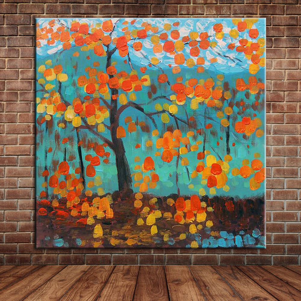 online get cheap wall murals painting aliexpress com alibaba group cheap art yellow leaves tree oil painting modern abstract blue art canvas painting wall mural picture