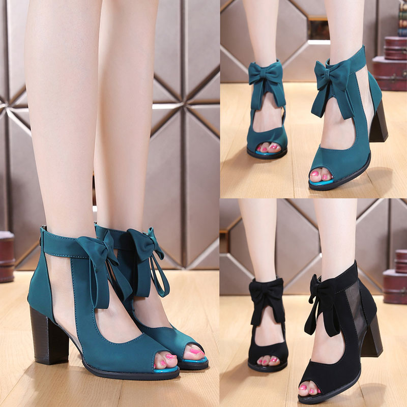 2016 new Rome summer women mesh chunky high heels peep toe pumps platform bow sandals back zippers girls gladiator sandals shoes female s lace up bow knot women glitter rivets rome sandal on platform plus size 42 43 round toe girls summer shoes flip flops