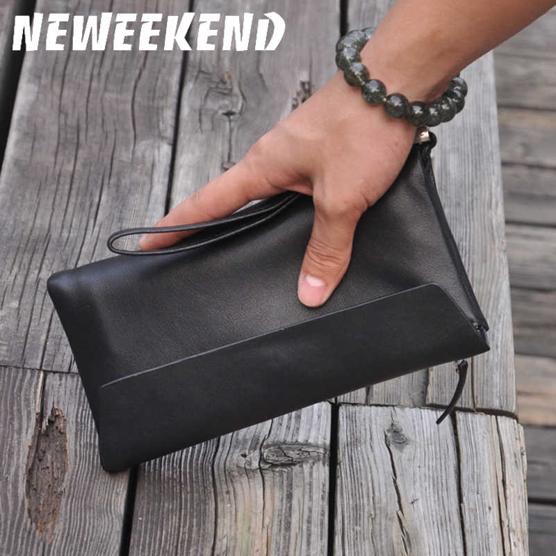 NEWEEKEND Genuine Real Leather Wallets Handbag Business Card Holder Coin Purse Pocket Male Men's Long Zipper Clutch Pouch 3016