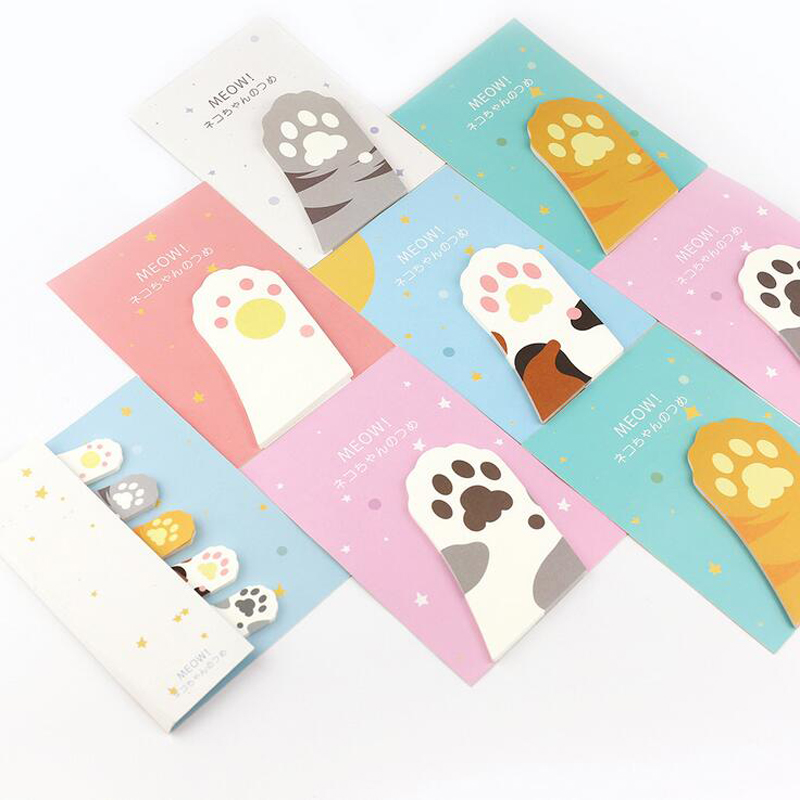 30 Sheets Kawaii Cat Paw Claw Memo Pads Marker Message Sticky Notes Decor School Office Supply Stationery 30 Pages
