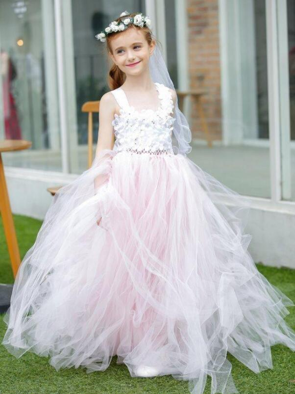New Pink Princess Flower Girls Dresses White 3D Flowers Girl Dress For Wedding Party Girls Birthday Dresses Baby Pageant GownNew Pink Princess Flower Girls Dresses White 3D Flowers Girl Dress For Wedding Party Girls Birthday Dresses Baby Pageant Gown