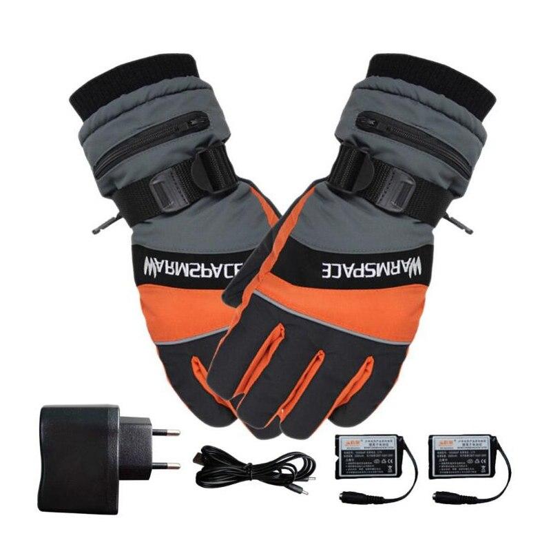 Hiver USB chauffe-main électrique gants thermiques imperméables gants chauffants à piles pour moto Ski