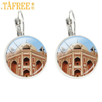 TAFREE Dome Temple Taj Mahal Earrings Rhodium Plated clip on earring fashion round Glass cabochon Stock Vector jewelry H578