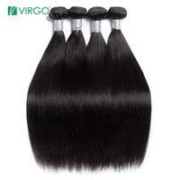 Peruvian Straight Hair Bundles Human Hair Weave Bundles 1 / 3 / 4 PCS Virgo Hair Company Natural Remy Hair Extensions