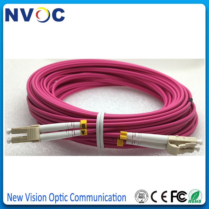 50M LC UPC to LC UPC Duplex OM4 Multimode 3.0mm Fiber Optic Patch Cord Cable