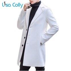 Lisa Colly nowych mężczyzna jesień płaszcze z wełny kurtki zimowe znosić na co dzień wełniany płaszcz kurtka z kaszmiru mężczyzna pojedyncze łuszcz płaszcz