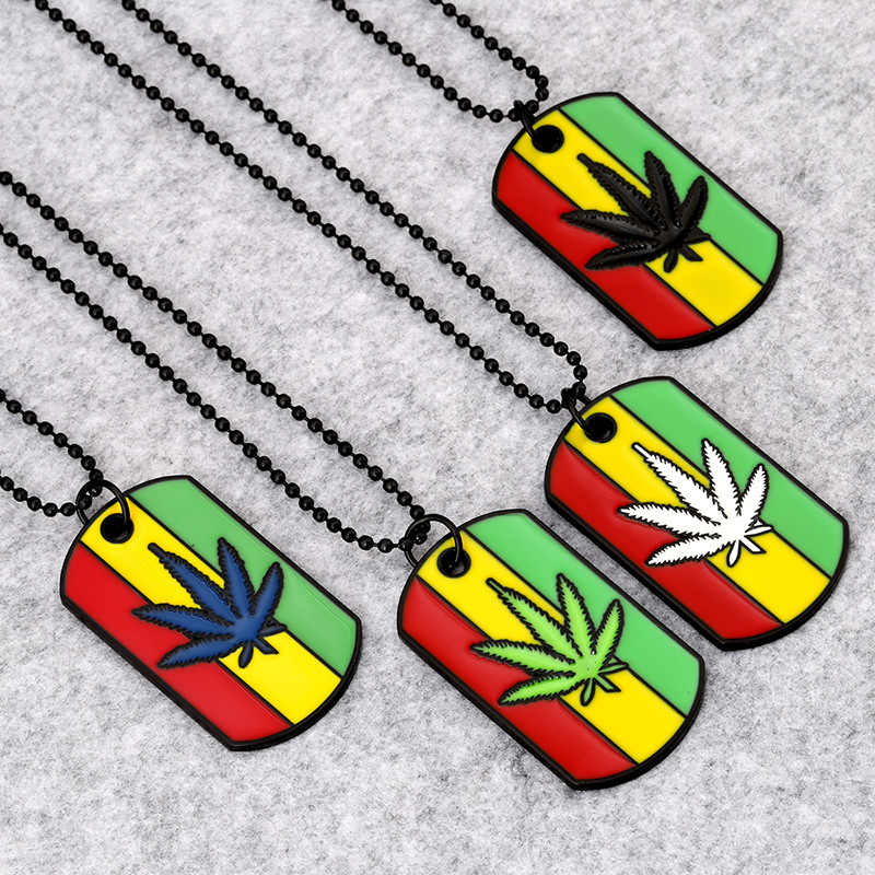 Rock Jamaica Esserteauiana Hemp Pendants Necklaces Women Men Steel Cool Army Dog Tags Hip Hop Jewelry Gifts Weed Herb Chains