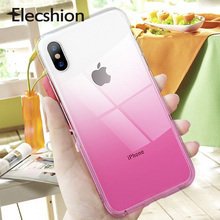 Colorful Transparent Phone Case For iPhone 7 8 Plus XR XS MAX Soft Ultra Thin TPU For iPhone 6 6s Plus Simple Gradient Pure Case baseus simple tpu case for iphone 7 plus transparent