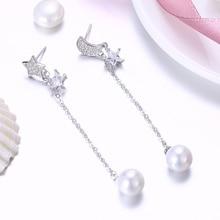 купить Freshwater Pearl Earrings 925 Sterling Silver Clear CZ Star And Moon Long Chain Drop Earrings For Women Sterling Silver Jewelry дешево