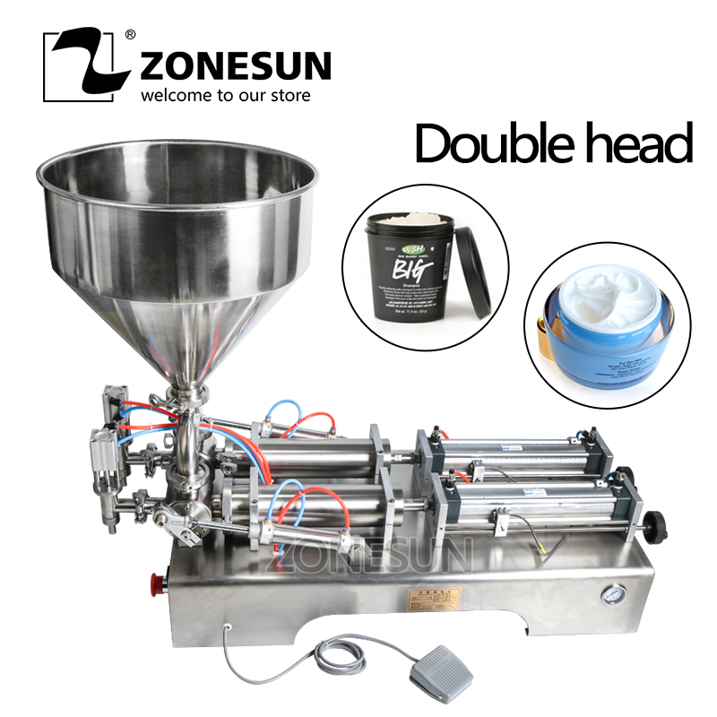 ZONESUN Filling Machine Double Heads Automatic Pneumatic Hopper Cream Shampoo Moisturizer Lotion Cosmetic Oil Honey Food Paste zonesun pneumatic a02 new manual filling machine 5 50ml for cream shampoo cosmetic liquid filler