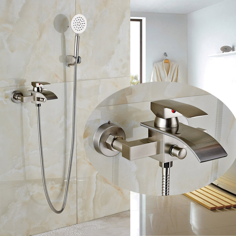 Uythner Bathroom Wall Mounted Shower Faucet with Hot and Cold Water Brushed Nickle Finish free shipping wall mounted brushed nickle led light showerhead with shower arm 8 10 12 inch